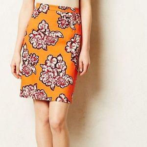 Anthropologie MAEVE Orange Floral Pencil Skirt 6